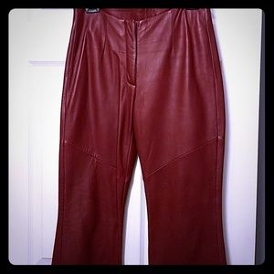 Womens red leather pants